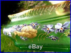 Enorme vase jardinière violettes au vent par Montjoye, era daum Galle legras