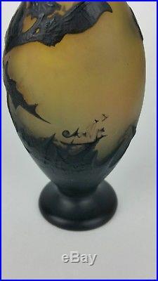 Epais vase GALLE decor CHARDON vers 1910 gravé