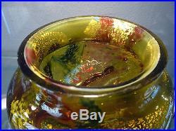 Ernest LEVEILLE Vase art nouveau pate de verre feuilles d'or e. Rousseau