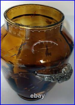 Eugène Rousseau Vase Cylindrique Verre émaillé Aquatique escalier de cristal