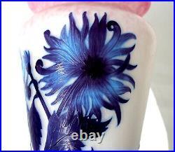 Exceptionnel grand vase Delatte décor dahlias éra Daum Gallé Muller