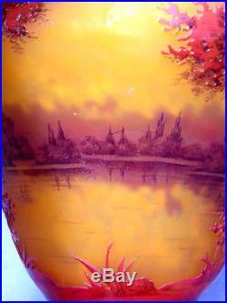 Exceptionnel vase Daum Bord de lac, vives couleurs, parfait, era Gallé, vers 1