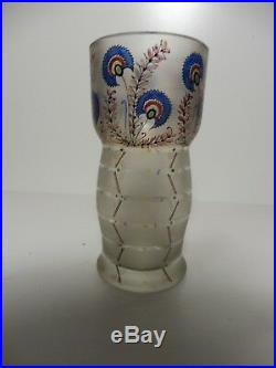 FRITZ HECKERT GLASFABRIK (attribué à), Centaurées, Vase gobelet, TBE