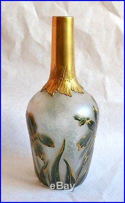 Flacon Art Nouveau Victor Saglier Daum Décors d'Iris 1900 Jugendstil
