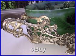 Grande Jardiniere Bronze Et Pate De Verre Victor Saglier Lorraine Art Nouveau