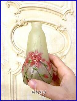 Gabriel Argy-Rousseau Petit Vase En Pate De Verre, Decor De Fleurs Art Nouveau