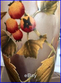 Gallé Coupe signée d'environ 15 cm de haut Décor branche d'arbre fruitier