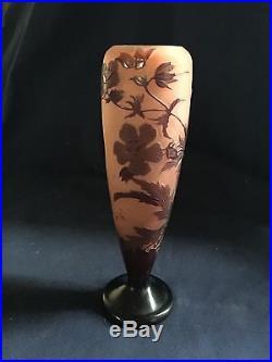 Gallé Vase d'Emile Gallé en pâte de verre signature en relief art Déco