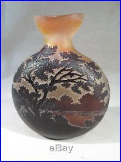 Galle Ancien Vase Gourde Decor Paysage Bord De L'eau Epoque Art Nouveau 1900