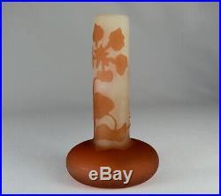 Gallé Vase Soliflore En Verre Multicouche Dégagé à l'Acide