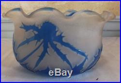 Gallé pate de verre dégagé acide décor chardon authentique