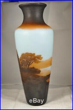 Grand Vase Ancien Pate De Verre D'argental Antique Large Vase Cameo Glass