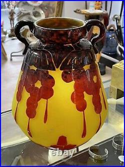 Grand Vase Art Deco Le Verre Francais Pate De Verre