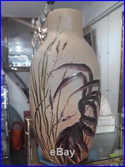 Grand Vase Pâte De Verre Dégagé A L'acide Signé Legras 37cm