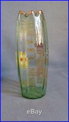 ++ Grand Vase ovoïde à col rentrant verre emaillé Legras Olga Tokyos bel état ++