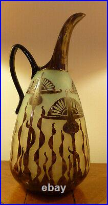 Grand pichet LE VERRE FRANCAIS, SCHNEIDER marmoéren gravé à l'acide 1920, 33 cm