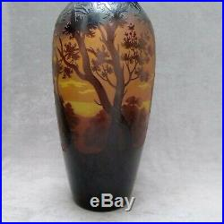 Grand vase D'argental paysage Art Nouveau