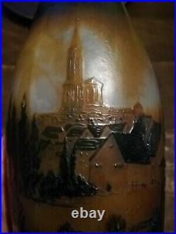 Grand vase D'argental paysage Paul Nicolas Art Nouveau scenic french cameo glass
