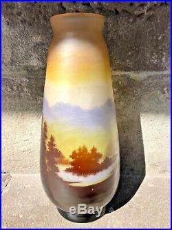 Grand vase Emile GALLE décor Vosgien 45,5 cm