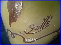 Grand vase Gallé Emile décor de clématites H47