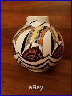 Grand vase boule Art Deco KERAMIS décor 1427 H 24 cm