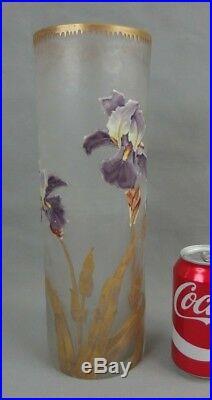 Grand vase rouleau Legras Montjoye en cristal émaillé art nouveau 1900 iris