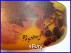 Grande coupe ronde 20 cm, pâte de verre décor Feuilles de vigne signée Peynaud