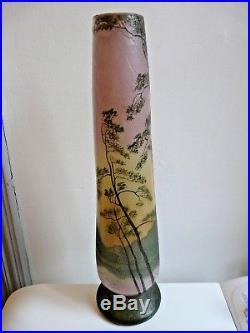 Important Vase Legras Decor Lacustre Emaille Et Degage A L'acide Vers 1900 50cm
