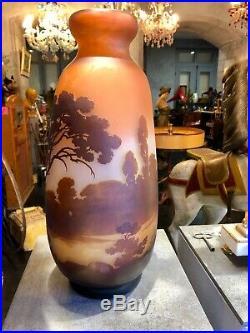 Important vase de Gallé, 43 cm décor Lacustre