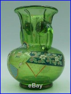 JOLI VASE GALLE 1846/1904 décor émaillé en VERRE SOUFFLE-no pate de verre