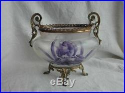 Jardinière en bronze et verre peint de fleur d'iris XIXème style Legras