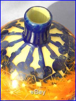 Joli gros vase boule 1920 Schneider Le verre français mirette, era daum galle