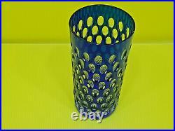 Joli vase bleu en cristal de Saint Louis