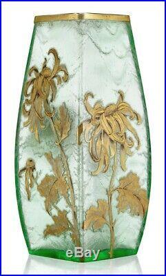LEGRAS MONTJOYE paire de vases en verre gravé et doré EPOQUE ART NOUVEAU