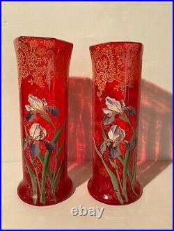LEGRAS Paire de Grands Vases Verre Cristal Rouge Soufflé Emaillé Décor Iris 1900