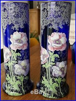 LEGRAS Paire de VASE Émaillée floral bleu cobalt