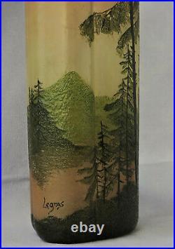 LEGRAS Vase Phénicie Verre Gravé Acide Décor Paysage Lacustre Art Nouveau