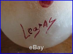 LEGRAS Vase boule lobé MONACO série Rubis (ART NOUVEAU)