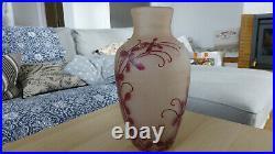 LEGRAS Vase ovoïde de la Série RUBIS Gravé à l'acide Modèle Sully Signé