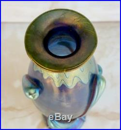 Loetz Austria Vase Phaenomen Iridescent Applied Glass Cobalt Blue Signed Ep. 1901
