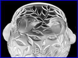 Lalique France Vase Elisabeth En Cristal Motif Piédestal Signé