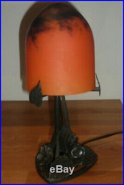 Lampe obus en pâte de verre no muller gallé daum schneider degué fer forgé