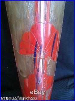 Le verre Français rare grand vase 42cm modèle ombelles Schneider art glass verre