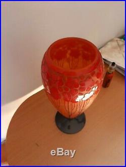 Le verre francais, Charles schneider, vase en pate de verre dégagé à l acide