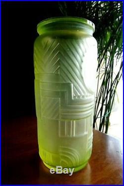 Legras Grand Vase Ouraline Art Deco Motif Geometrique Tres Design