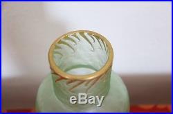 Legras Mont Joye vase artistique en verre vert Art Nouveau de marque