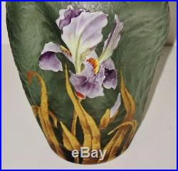 Legras MontjoyeVase art nouveau panse cabossée, décor émaillé d'iris et doré