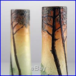 Legras Paire De Vases Art Nouveau Dégagés À Lacide Déco Émaillée Etched Glass