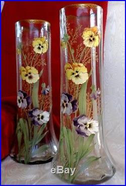 Legras Rare Paire Grands Vases Emaille Floral Violet, Jaune Pensees