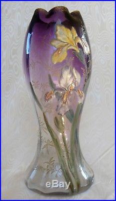 Legras, Splendide Vase Bicolore Emaille Violet Decor Floral Iris